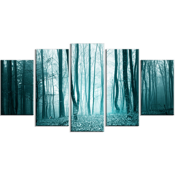 Designart Turquoise Colored Magic Forest Modern Forest Wrapped Art - 5 Panels