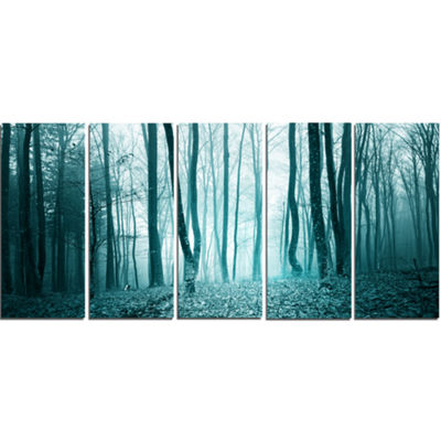 Designart Turquoise Colored Magic Forest Modern Forest Canvas Art - 5 Panels