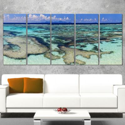 Designart Turquoise Tropical Ocean Waters Modern Seascape Canvas Artwork - 4 Panels