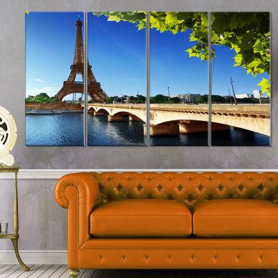 Designart Bridge To Paris Paris Eiffel TowerparisCityscapeCanvas Print - 4 Panels