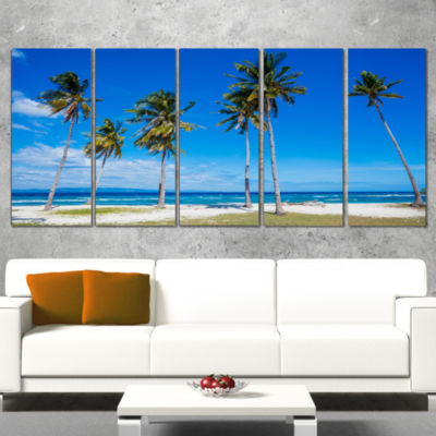 Designart Bright and Clear Tropical Beach Extra Large Seascape Art Canvas - 4 Panels