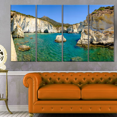 Designart Turquoise Water Beach Panorama Extra Large Seashore Canvas Art - 4 Panels