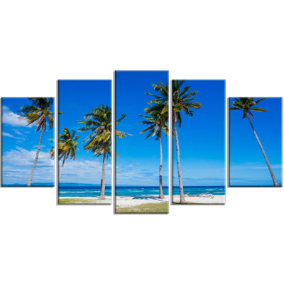Designart Bright and Clear Tropical Beach Extra Large Seascape Art Wrapped Canvas - 5 Panels