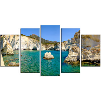 Designart Turquoise Water Beach Panorama Extra Large Seashore Wrapped Art - 5 Panels