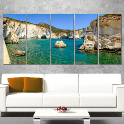 Designart Turquoise Water Beach Panorama Extra Large Seashore Canvas Art - 5 Panels
