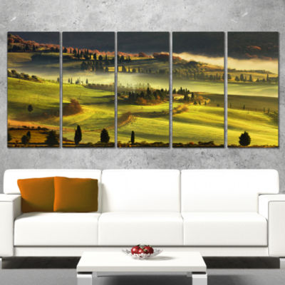 Designart Tuscany Farmland and Cypress Trees Oversized Landscape Wall Art Print - 4 Panels