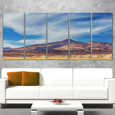 Designart Bright Argentina Mountain Region AfricanLandscape Canvas Art Print - 5 Panels