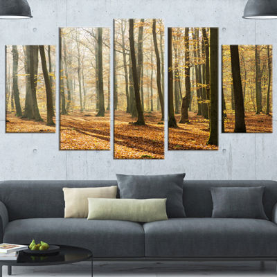 Designart Bright Autumn Day in Thick Forest ModernForest Wrapped Canvas Art - 5 Panels