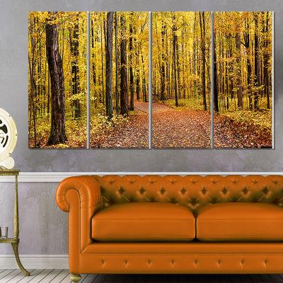 Designart Bright Autumn Forest Panorama Modern Forest Canvas Art - 4 Panels