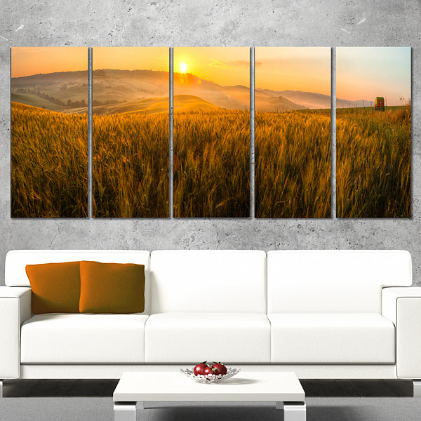 Designart Tuscany Wheat Field at Sunrise LandscapeArtwork Canvas - 5 Panels