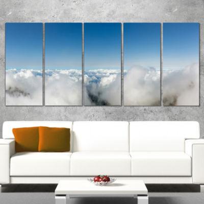 Designart Bright Blue Sky Above Clouds Contemporary Landscape Canvas Art - 5 Panels