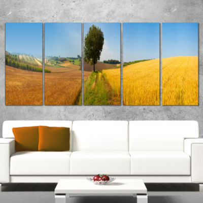 Designart Tuscany Wheat Field Hill Panorama Landscape Artwork Canvas - 4 Panels