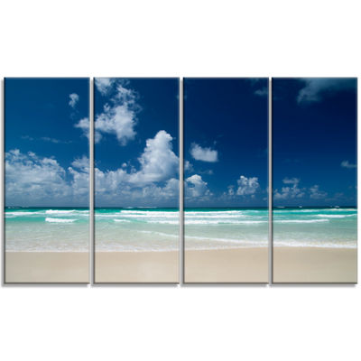 Designart Bright Blue Sky On Winter Day Large Seashore Canvas Print - 4 Panels