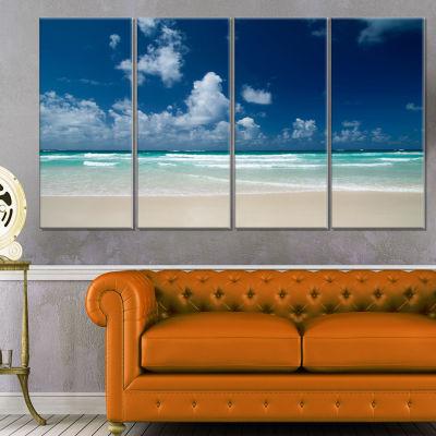 Designart Bright Blue Sky On Winter Day Large Seashore Canvas Print - 4 Panels