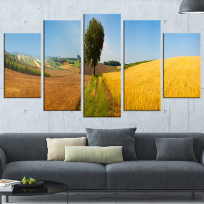 Designart Tuscany Wheat Field Hill Panorama Landscape Artwork Wrapped - 5 Panels