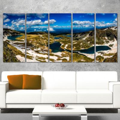 Designart Bright Blue Sky Over Seven Rila Lakes Landscape Canvas Art Print - 5 Panels