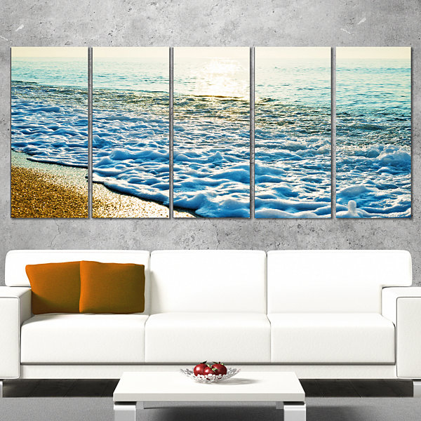 Designart Bright Blue Tranquil Seashore Beach Photo Canvas Print - 5 Panels