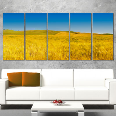 Designart Tuscany Whet Field on Sunny Day Landscape ArtworkCanvas - 4 Panels