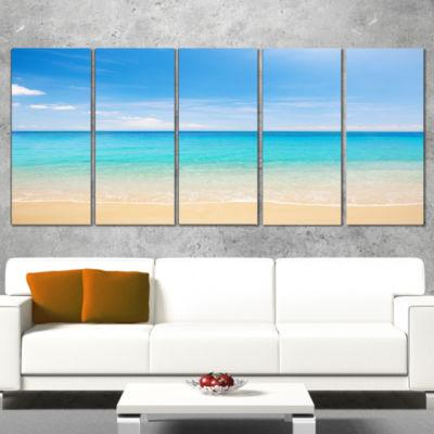 Designart Bright Blue Tropical Beach Seashore Photo Canvas Art Print - 4 Panels