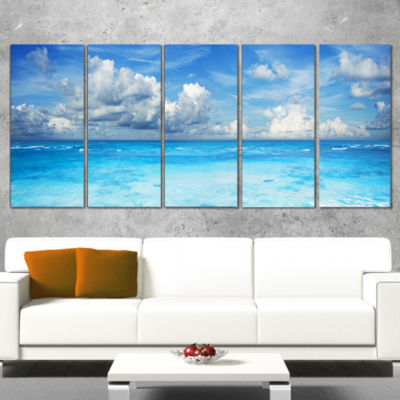 Designart Bright Blue Waters and Sky Panorama Modern Seascape Canvas Artwork - 4 Panels