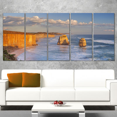 Designart Twelve Apostles on Ocean Road Extra Large SeashoreCanvas Art - 4 Panels