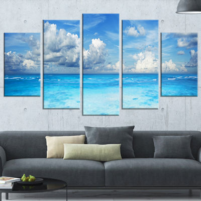 Designart Bright Blue Waters and Sky Panorama Modern Seascape Wrapped Canvas Artwork - 5 Panels
