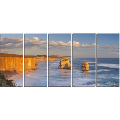 Designart Twelve Apostles on Ocean Road Extra Large SeashoreCanvas Art - 5 Panels