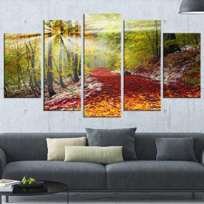 Designart Bright Colorful Alpine Forest LandscapePhoto Canvas Art Print - 5 Panels