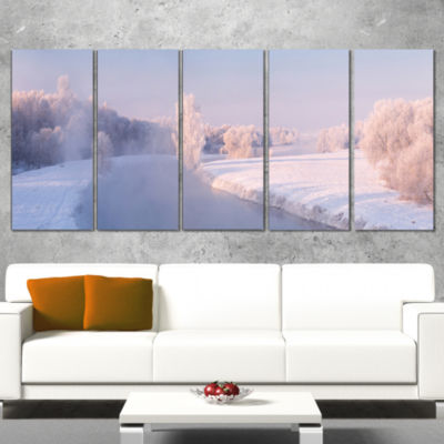 Designart Bright Colorful Winter Day Landscape Print Wall Artwork - 5 Panels