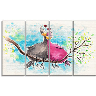 Designart Two Birds in Love on Branch Abstract Canvas Art Print - 4 Panels