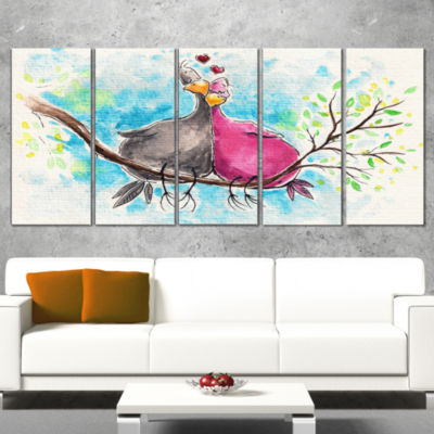Designart Two Birds in Love on Branch Abstract Wrapped Art Print - 5 Panels