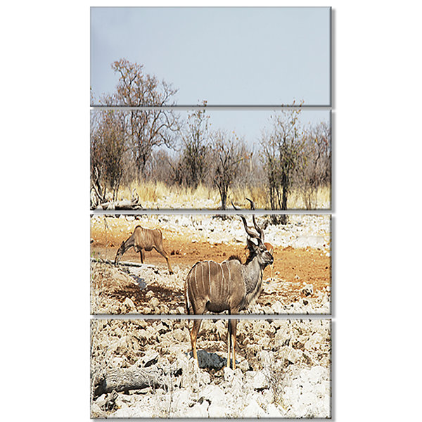 Designart Two Smart Wildebeests in Jungle Landscape ArtworkCanvas - 4 Panels