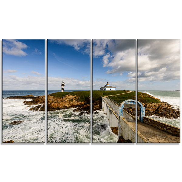 Designart Bright Illa Pancha Lighthouse SeashorePhoto Canvas Print - 4 Panels