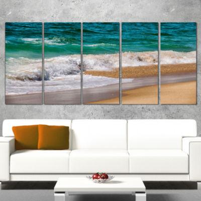 Designart Typical atlantic Seashore in SummertimeSeashore Wrapped Art Print - 5 Panels