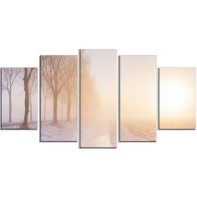 Designart Typical Polder Land in the Nether Landscape Wrapped Art Print - 5 Panels