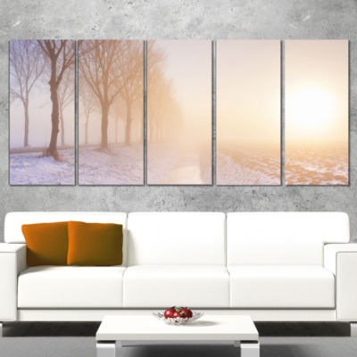 Designart Typical Polder Land in the Nether Landscape CanvasArt Print - 5 Panels