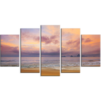 Designart Bright Morning Over The Sea Modern Seashore Wrapped Canvas Art - 5 Panels