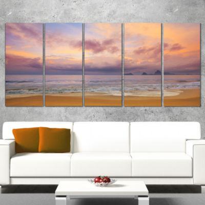 Designart Bright Morning Over The Sea Modern Seashore Canvas Art - 5 Panels