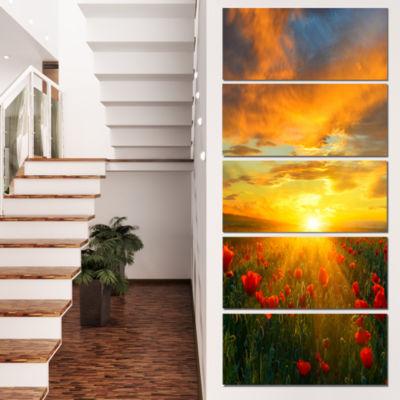 Designart Bright New Day Over Poppy Fields FloralCanvas Art Print - 4 Panels