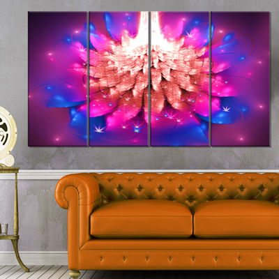 Designart Bright Pink Fractal Flower On Blue Floral Canvas Art Print - 4 Panels