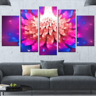 Designart Bright Pink Fractal Flower On Blue Floral Canvas Art Print - 5 Panels