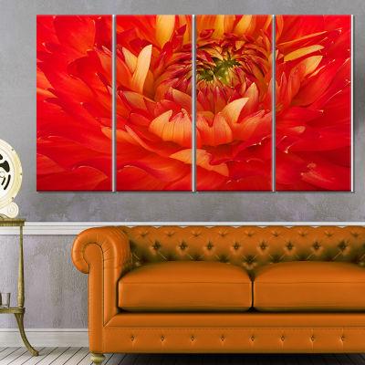 Designart Bright Red Close Up Flower Petals FloralCanvas Art Print - 4 Panels