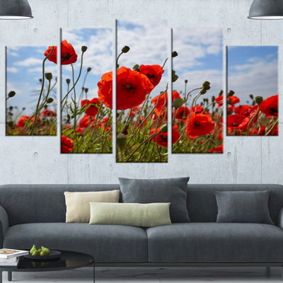 Designart Bright Red Poppy Flowers Photo Flower Artwork On Wrapped Canvas - 5 Panels