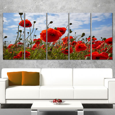Designart Bright Red Poppy Flowers Photo Flower Artwork On Canvas - 5 Panels