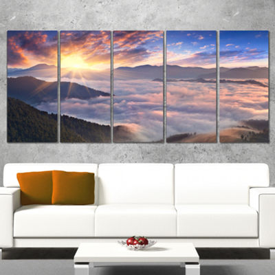 Designart Bright Sun in Misty Mountains LandscapePhotography Canvas Print - 4 Panels