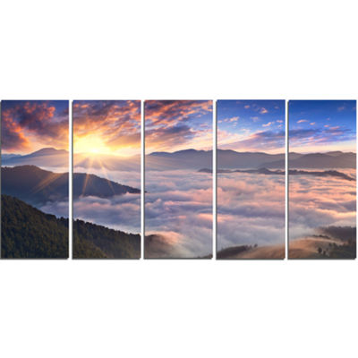 Designart Bright Sun in Misty Mountains LandscapePhotography Canvas Print - 5 Panels