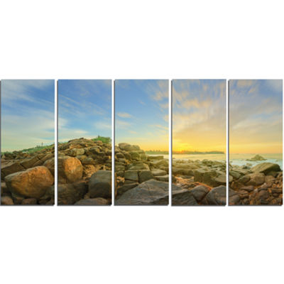 Designart Untouched Romantic Beach of Sri Lanka Landscape Artwork Canvas - 5 Panels