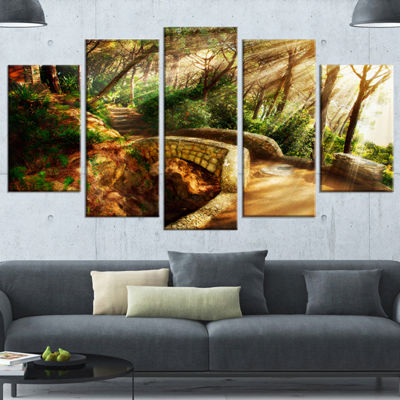Designart Bright Sun in Mystical Park Large Landscape Wrapped Canvas Art - 5 Panels