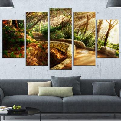 Designart Bright Sun in Mystical Park Large Landscape Canvas Art - 5 Panels