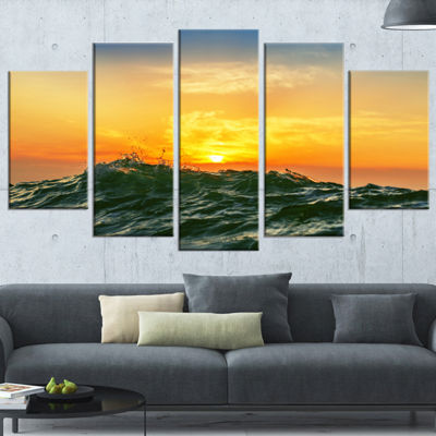 Designart Bright Sunlight and Glowing Waves BeachPhoto Wrapped Canvas Print - 5 Panels